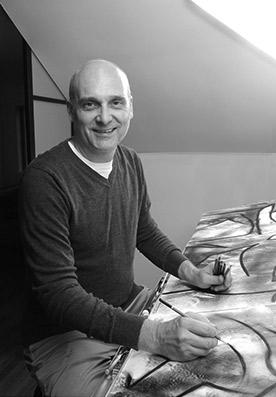 Paul Duval artiste Sherbrooke Estrie.dessin à base de poudre de photocopieur.