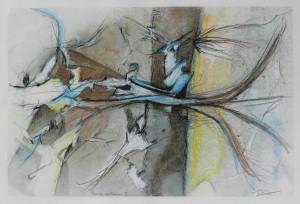 Paul Duval artiste Sherbrooke Estrie. titre Mémoire en floraison , dessin à base de poudre de photocopieur.