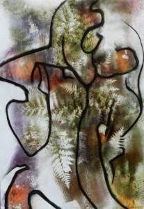 Paul Duval artiste Sherbrooke Estrie. titre Graphème rupestre dessin à base de poudre de photocopieur.