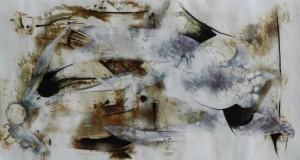Paul Duval artiste Sherbrooke Estrie. titre Étrangeté dessin à base de poudre de photocopieur.